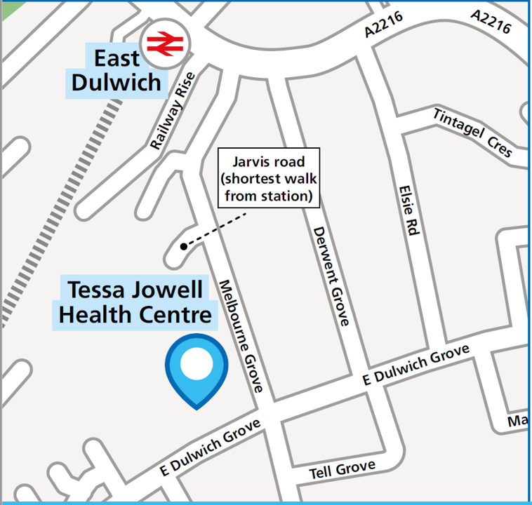 Map of how to find Tessa Jowell Health Centre
