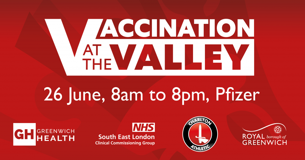 Vaccination at The Valley, Pfizer. 26 June 8am-8pm