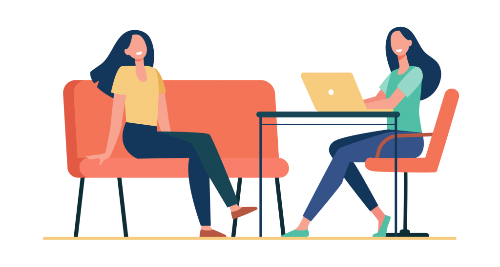 Two friends sitting and talking, using a laptop