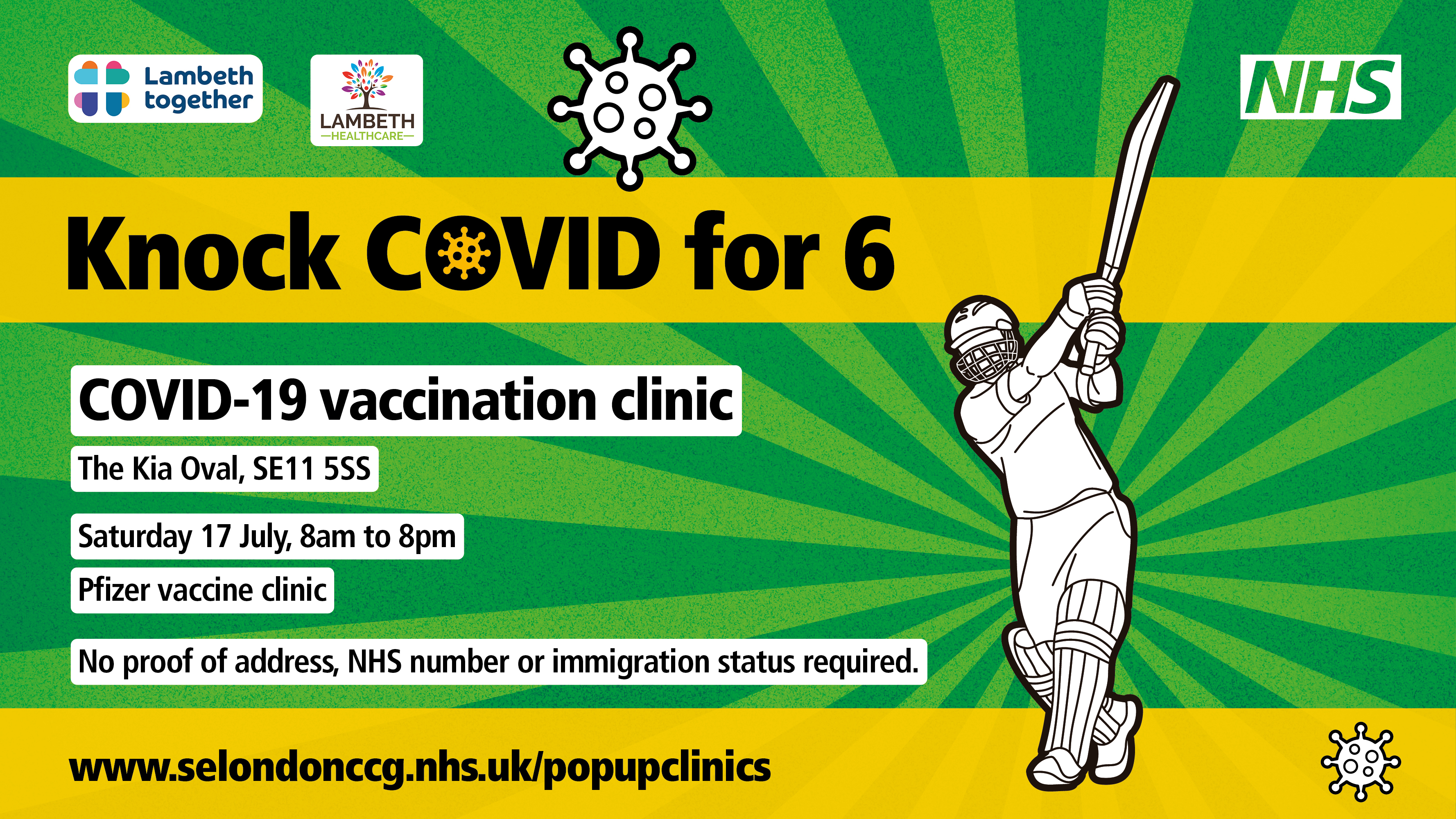 Knock Covid for 6 at The Kia Oval this weekend